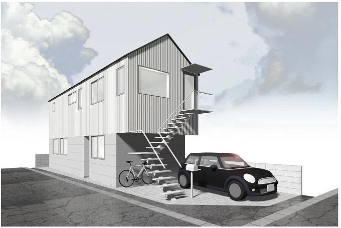 シンプルモダン 2階玄関の家 京都市左京区下鴨 新築一戸建て 4780万円税込
